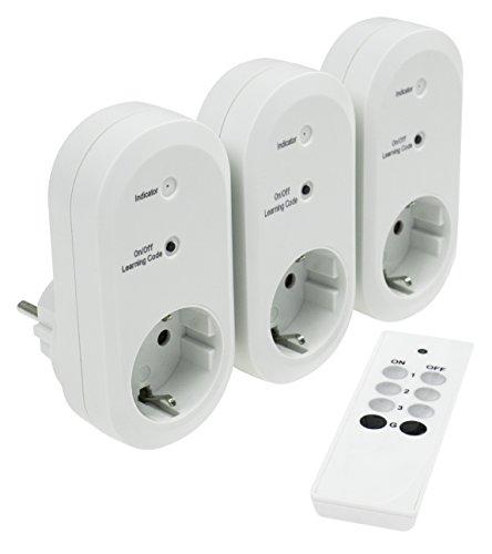 as - Schwabe Funksteckdose 3-er Set mit Fernbedienung, 3 Steckdosen einzeln oder gleichzeitig schaltbar, 1 Stück, weiß, 24080