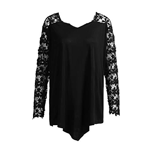 VEMOW Plus Size Fashion Sommer Herbst Lady Lace Damen Langarm T-Shirt Casual Top Bluse(X1-a-Schwarz, 52 DE / 5XL CN)