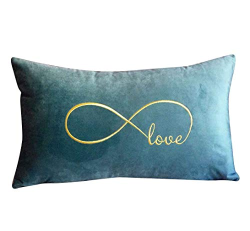FAVDEC Embroidered Infinity Love Decorative Throw Pillow Cover, Lumbar Love Pillow Cover 12 Inches x 20 Inches Cover Only