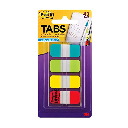 Post-it Tabs.625 in Solid, Aqua, Lime, Yellow, Red, 10/Color, 40/Dispenser (676-ALYR)