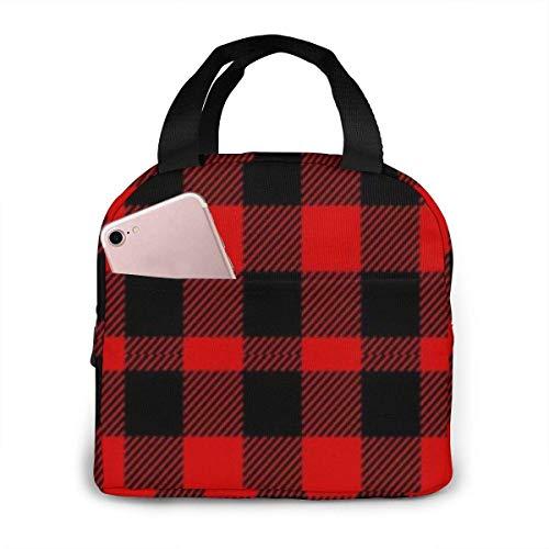 MQJJ rouge noir Buffalo vérifier motif à carreaux sac à lunch adulte sac fourre-tout à déjeuner durable sac à lunch isolé pour boîte à Lunch de travail