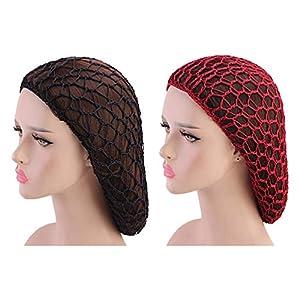 SOLUSTRE 2 Piezas de Redes para El Cabello para Dormir Crochet Red para El Cabello Pelo Largo Redecilla Turbante para Mujeres Niñas Claret Negro