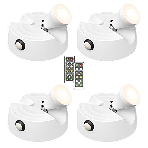 Olafus 4er Bilderleuchte LED Deckenstrahler mit Fernbedienung, 200LM Batteriebetrieben Spot Licht, Dimmbare mit Timer, 2700K warmweiß Drehbare Schrankleuchte für Gemälde, Bilder, Kunstwerke