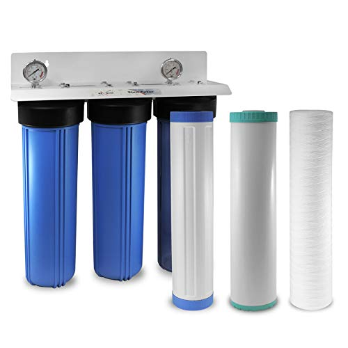 """3-Stage 20""""x 4.5"""" WH BB Nitrate Removal Water Filtration System 1"""" Ports Double O Ring Filter Housing, Wound Sediment Anion GAC Carbon Filters 2 Gauges"""
