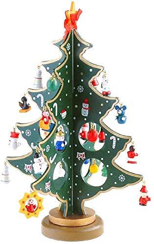 GEEDIAR Wooden Christmas Tree 3D DIY Creative Miniature Ornaments Festival Party Xmas Tree Table Desk Decoration Xmas/Christmas Best Gift -30cm (Green)