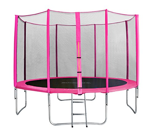 sixbros. sixjump 12ft 3.70 m garden trampoline pink - safety net - ladder - protection cover tp370/1718
