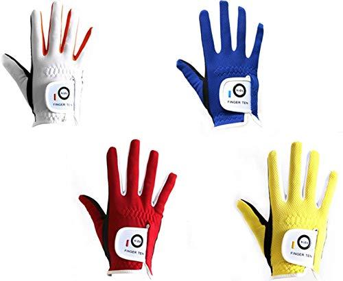 Golfhandskar barn vänster hand höger alla väder mjukt regn grepp värde 2-pack, ungdom golfhandske pojkar flickor mikrofiber andas snabbtorkande färg blå röd gul vit passform barn i åldern 2-10 år White-Worn on Right Hand L(Age 7-8)