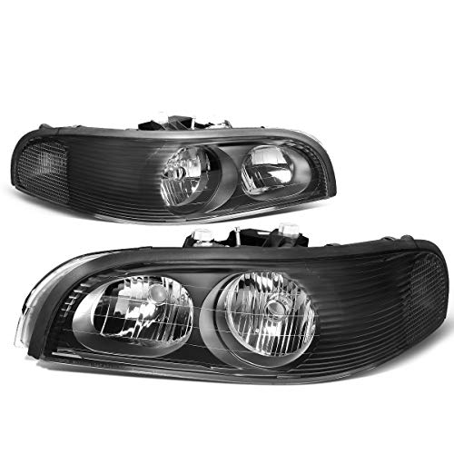 HEADLIGHTSDEPOT Black Housing Halogen Headlights Compatible With Buick Park Avenue 1997-2005 Includes Left Driver and Right Passenger Side Headlamps