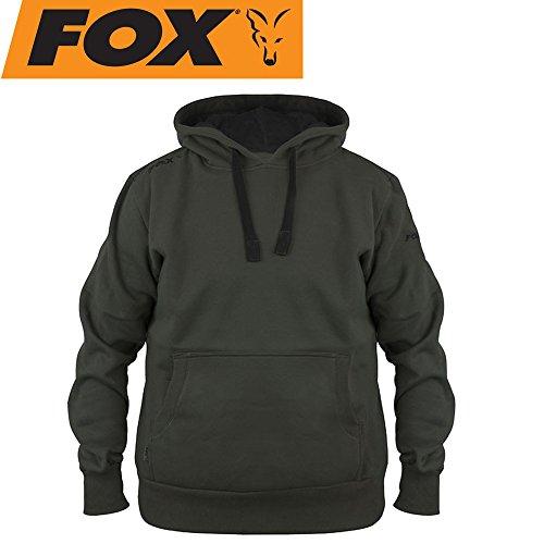 FOX Green Black Hoodie - Angelpullover, Hoody, Kapuzenpullover zum Angeln, Anglerpullover, Pullover für Angler, Größe:S