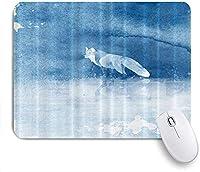 KAPANOU マウスパッド、フォックスブルー水彩抽象動物アート秋のパステル おしゃれ 耐久性が良い 滑り止めゴム底 ゲーミングなど適用 マウス 用ノートブックコンピュータマウスマット