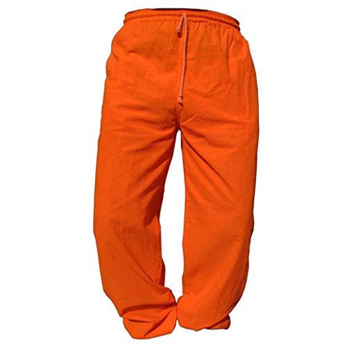 Panasiam Pantalones de tela para uso diario, deportes, yoga, correr etc., para personas altas a partir de 1,80m De 100% algodón. naranja 122 cm