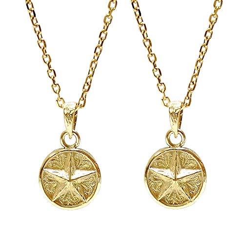 ペアネックレス 刻印無料 ペアハワイアンジュエリー 星 スター メダル コイン カップル 花 写真フレーム フラワー ゴールド レディース:40-45cm メンズ:45-50cm
