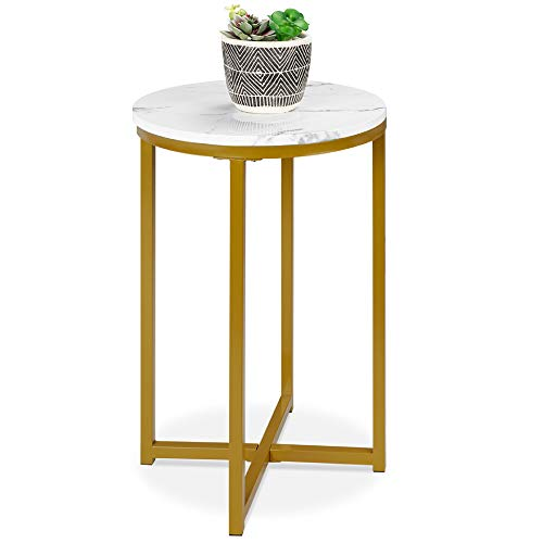 Best Choice Products 16in Side Table, Faux Marble Round End Table, Modern Small Accent Home Decor for Living Room, Dining Room, Tea, Coffee w/Metal Frame, Foot Caps, Designer - White/Bronze Gold