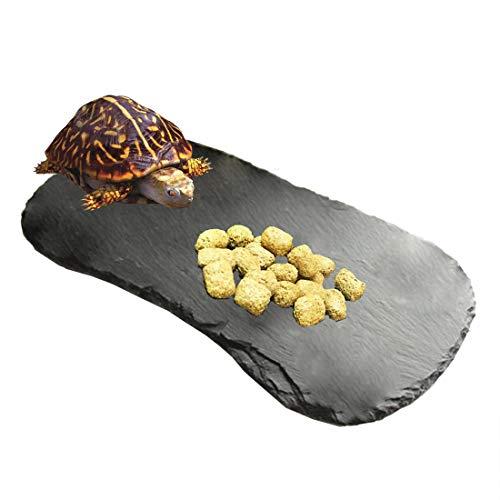 Tfwadmx Reptile Basking Platform,Tortoise Rock Plate Feeding Food Bowl Dish Feeding Slate Turtle Bathing Resting Platform for Lizard Gecko Bearded Dragon Chameleon Snake Frog