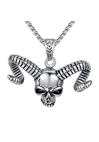 Arco Iris Jewelry Acciaio Inossidabile Collana con Pendente da Uomo, Demone Cranio, Teschio con Horn, Gotico, Ciondolo con Catena a Maglia Tonda