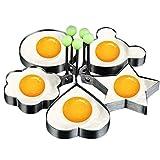 ACAMPTAR Moldes para Huevos Fritos, Molde para Hacer Tortitas con Manejar para Ni?Os, Molde Antiadherente para SartéN 5Pcs