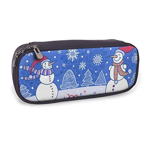 Estuche Escolar de Gran Capacidad,Tarjeta de Navidad con Árboles Y Muñecos de Nieve,Bolsa de Lápiz Organizador para Material Papelería con Cremallera Doble