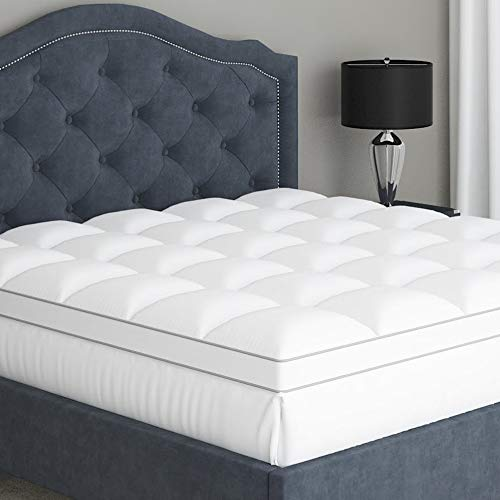 King Mattress Topper Pillow Top - Premium 100% Cotton Top Plush Stain Resistant Mattress Pad, Optimum Thickness with Down Alternative Fill, Fitted Deep Pocket Skirt for Mattress 18 Inches