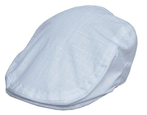 Cool4 Leinen Flatcap Schiebermütze Vintage Gatsby Kappe Retro Mütze Cap A03 (62, weiß)
