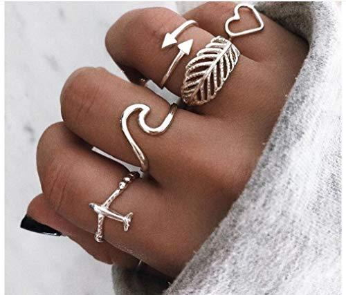 Chmier - Juego de 5 anillos para mujer, anillos bohemios para niñas, anillos de cristal vintage con gemas y nudo, conjuntos de anillos para adolescentes, fiestas, día a día, regalo de joyería festiva