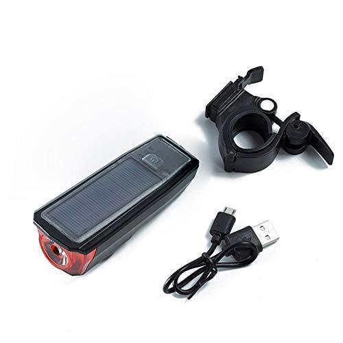 Luz de bicicleta luz de bicicleta usb recargable e Bicicleta solar LED Ciclismo Ciclismo Frente Potencia solar Lámpara de carga USB Cuernos recargables Bicicleta de altavoz (Color : Black)