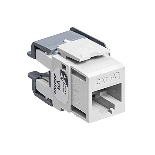 Leviton 6110G-RW6 eXtreme Cat 6A QuickPort Jack, Channel-Rated, White