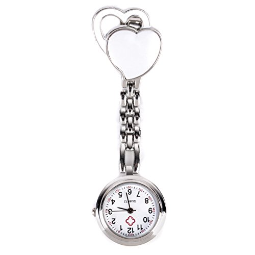 Trillycoler Moda Mujer Amor Corazón Reloj de Cuarzo Enfermera Broche Médico Bolsillo (Blanco)