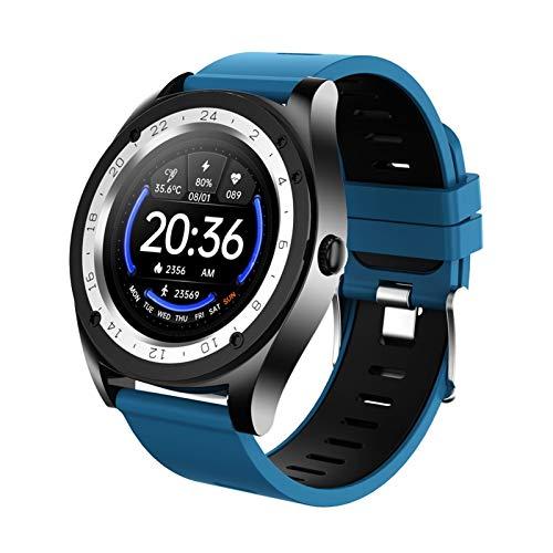 XUEXIU 1.28 Pulgadas Nuevo Reloj Inteligente MV60 Medición De Temperatura Bluetooth Llame a La Pantalla Redonda Reloj Inteligente para Android iOS (Color : Blue)