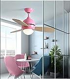 Nordic Creative Fan Light Ventilador de techo Light Restaurant Moderno Minimalista Dormitorio Sala de estar Estilo europeo Macarons Fan Chandelier, 42 pulgadas Color de madera Rosa + Ventilador remoto