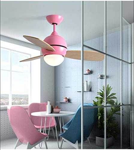 Nordic Creative Fan Light Ventilador de techo Light Restaurant Moderno Minimalista Dormitorio Sala de estar Estilo europeo Macarons Fan Chandelier, 42 pulgadas Color de madera Rosa + Ventilador remoto