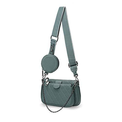 YALUXE Umhängetasche Damen Pochette Modische 5-in-1-Mehrzweck-Handtasche Echtleder mit Kleine Tasche Blau