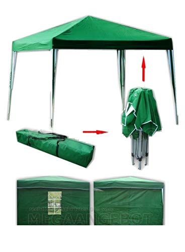Garden Pavilion 3x3 Green with 2 Side Walls, Folding Pavilion, Gazebo, Pop-up One-piece Integrated Steel Frame + 180 g/m² Polyester Roof, for Garden, Outdoor, Party, Exhibition and Flea Market