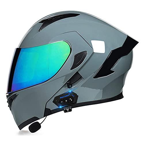 Dot/ECE Cascos Bluetooth Integrales de Motocicleta con Doble Visera Antideslumbrante Cascos de Motocross Racing Crash Helmet Diseño Liviano para Hombres y Mujeres (55~62cm)