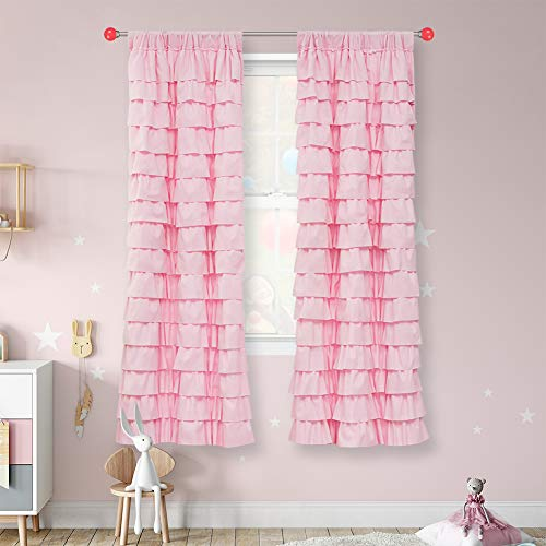WestWeir Pink Ruffle Curtains - Set of 2 Panels,Child Room 42 inches x 84 inches,Girl for Bedroom (42x84,2panels)