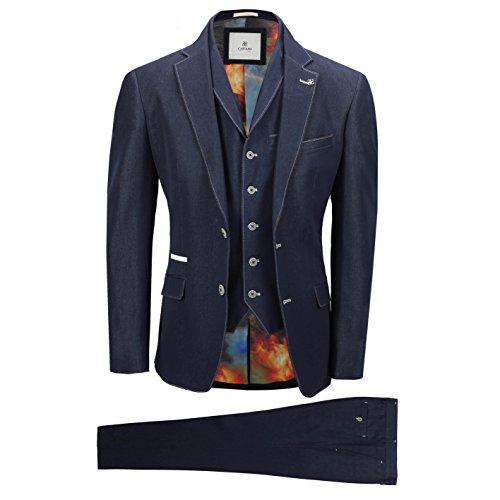 Cavani Herrenanzug Blau Creme Tailored Fit 3 Teilig Formel Abschlussball Design