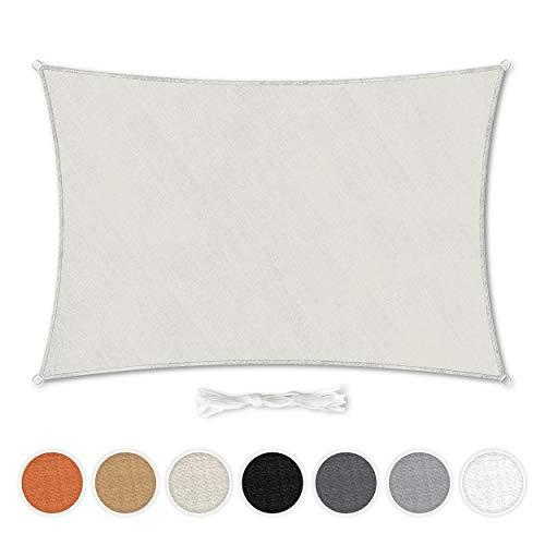 Hometex Premium Textiles Sonnensegel 2×3m Rechteckig inkl. Befestigungseile | Sahne | Sonnenschutz ideal für Garten, Terrasse, Balkon, Camping | Windabweisender Schattenspender