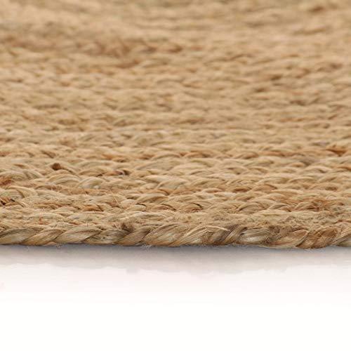 vidaXL Teppich Handgefertigt Jute Geflochten 120cm Rund Wohnzimmerteppich - 5