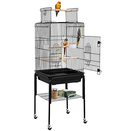 Yaheetech Gabbia per Uccelli Pappagalli Calopsite con Piedistallo in Metallo con Tetto Apribile Nera 46x46x119cm