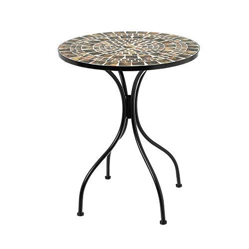 Mesa con Mosaico para Exterior rústica de Hierro y cerámica Terracota, de ø 60x72 cm - LOLAhome