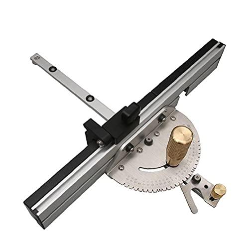 Mitre Gauge Tabla de sierra de precisión calibre de ingletes con Push manija de aluminio de Tenon límite extraíble de retención herramientas de disco de plata