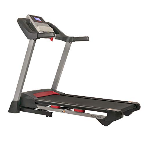 Sunny Health & Fitness Electric Folding Treadmill with LCD and Pulse Monitor, 265 LB Max Weight, Device Holder, Bluetooth Speakers and USB Charging - SF-T7917