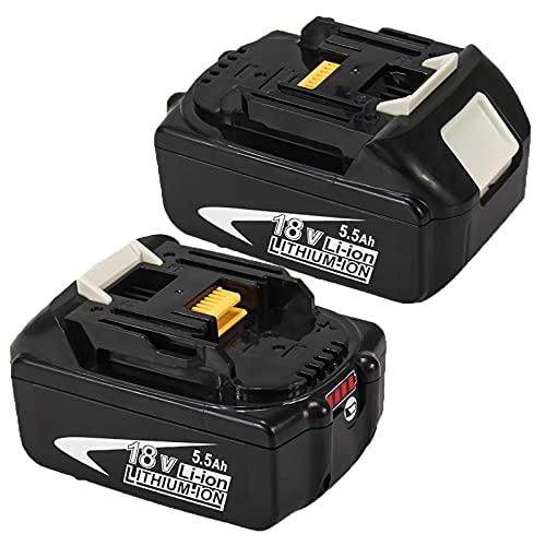 2X BL1860B 18V Repuesto Batería para BL1860 BL1840 BL1840B BL1845 194205-3 194309-1 194204-5 196399-0 196673-6 LXT-400 con Indicador de Carga Herramientas Eléctricas