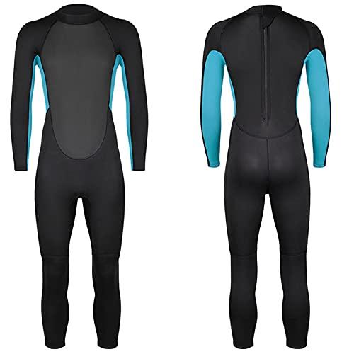 FR&RF Traje de neopreno de 3 mm para hombre, de una pieza, de neopreno, de invierno, de buceo, de manga larga, para deportes acuáticos, azul, M