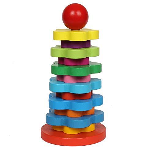 VJRQM Materiales Matemáticas Arco Iris Torre DIY Niños de Madera Aprendizaje Educativos Partido de Educación Temprana Juego Niño Juguete de Cumpleaños Regalo