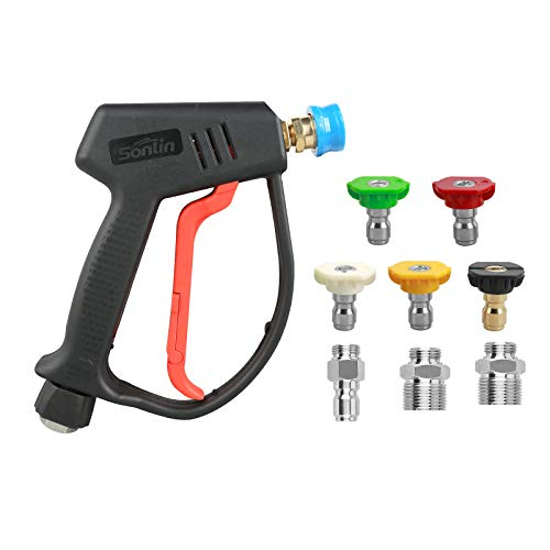 Product Image of the Sooprinse High Pressure Washer Gun 4000psi, High Pressure Spray Gun with 5 Quick Connect Nozzles,G1/4 Quick Connector Outlet with 3 pcs inlet adapters G3/8 quick connector, M22-14mm, M22-15mm