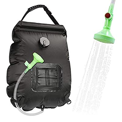 Solar Shower Bag,Camp Shower Bag,Solar Heating Bag Portable Outdoor,5 gallons/20L Camping Shower Bag with Removable Hose and On-Off Switchable Shower Head for Beach Swimming Traveling,Hiking