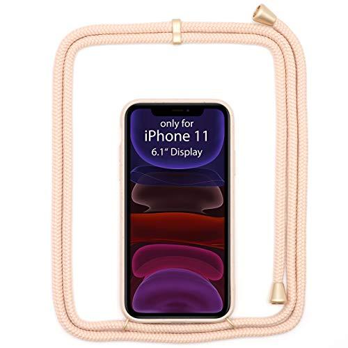 """JOPE Handykette für iPhone 11 (6.1"""") Rosé umweltfreundlich aus Bioplastik. Handy Hülle mit Verstellbarer Kordel. Smartphone Necklace Case mit Band zum umhängen. Nachhaltig und 100% kompostierbar."""