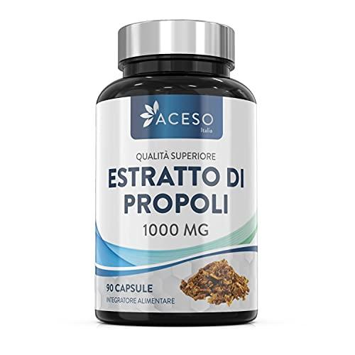 Propoli 1000 mg - Capsule di propoli a elevata concentrazione - 90 capsule - Rinforzo naturale per il sistema immunitario, sollievo dal mal di gola e potente antiossidante - Da Aceso