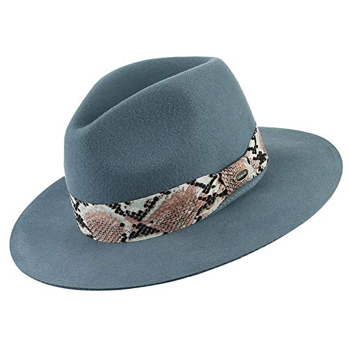QQSA Marke 100% Wolle 5 Farben Floppy Wide Brim Frauen Fedora-Hut-Schlangen-Haut-gestreiftes Band Felt Panama Hut-Winter-Jazz-Kappe (Color : Blue, Size : 56 58cm(Adjustable))