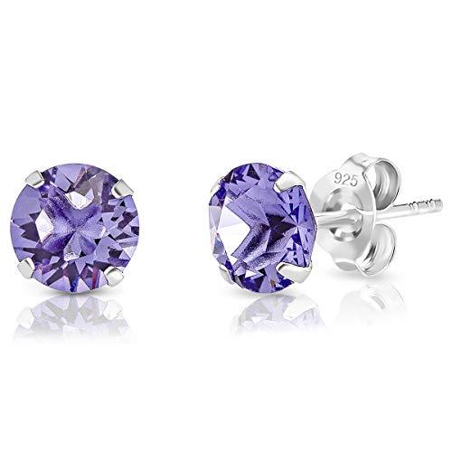 DTPSilver - Damen Ohrringe 925 Sterling Silber und mit Kristallen von Swarovski® Elements 6 mm Runde Ohrstecker - Farbe : Tansanit